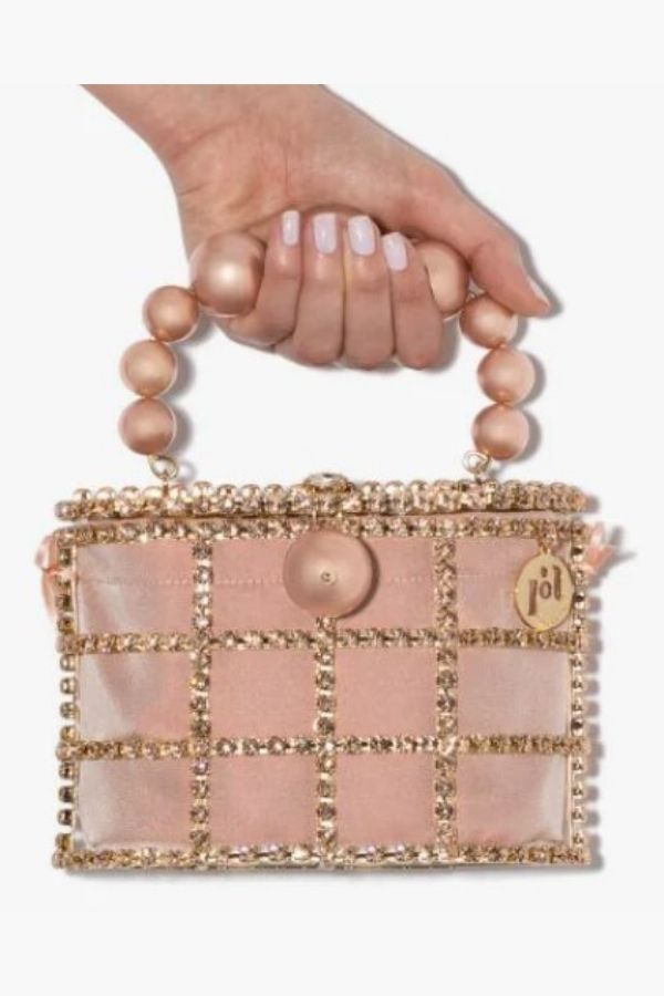 PINK AND GOLD TONE HOLLI EMBELLISHED SATIN MINI BAG