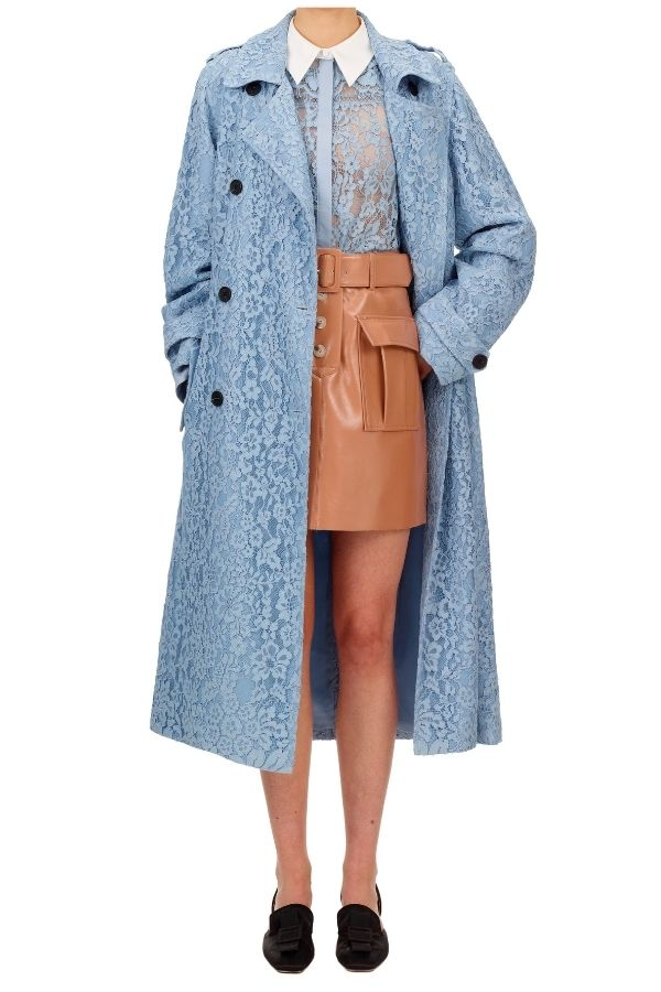 147A BLUE FINE CORDED LACE TRENCH