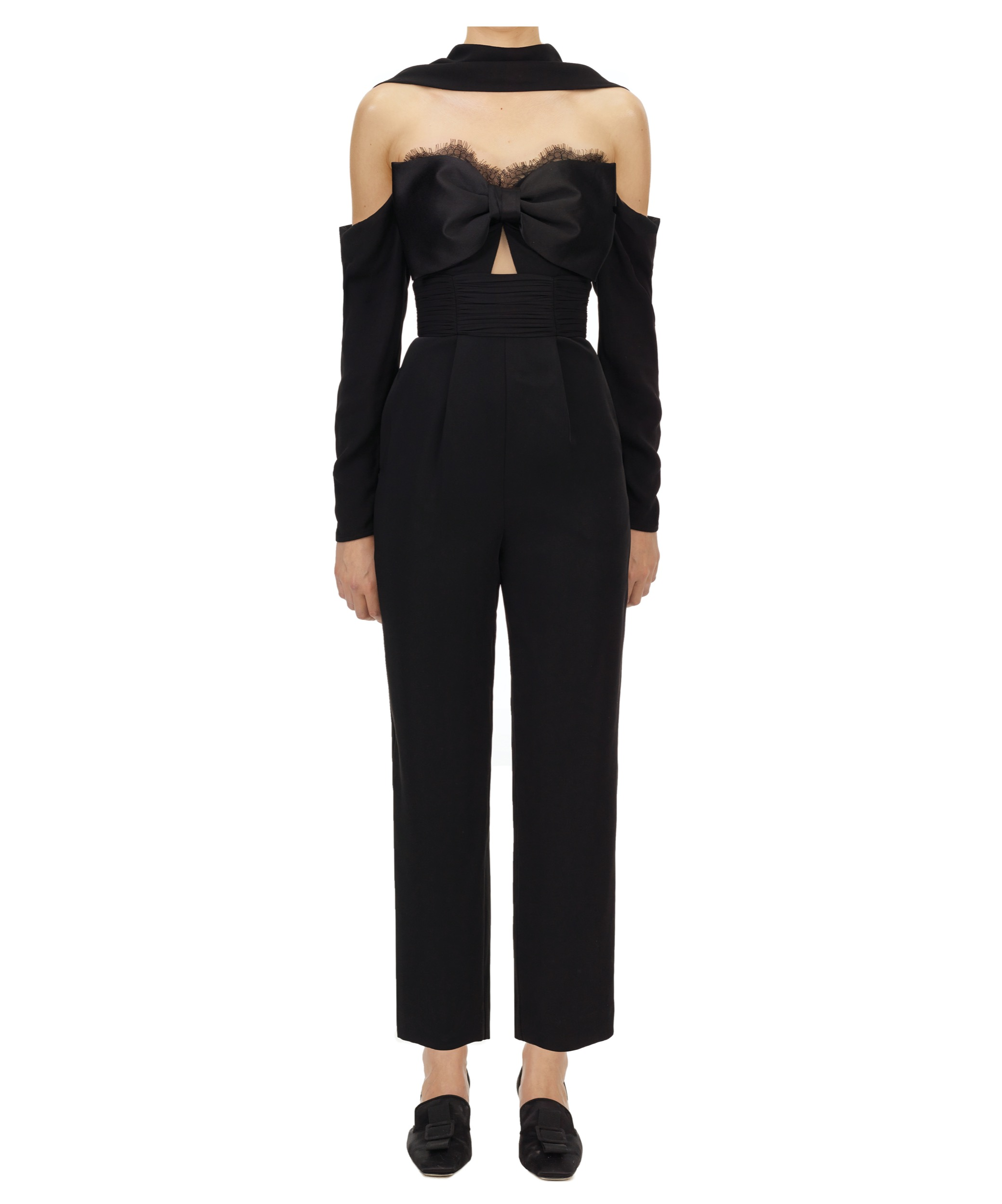 070 TAILORED CREPE BOW JUMPSUIT