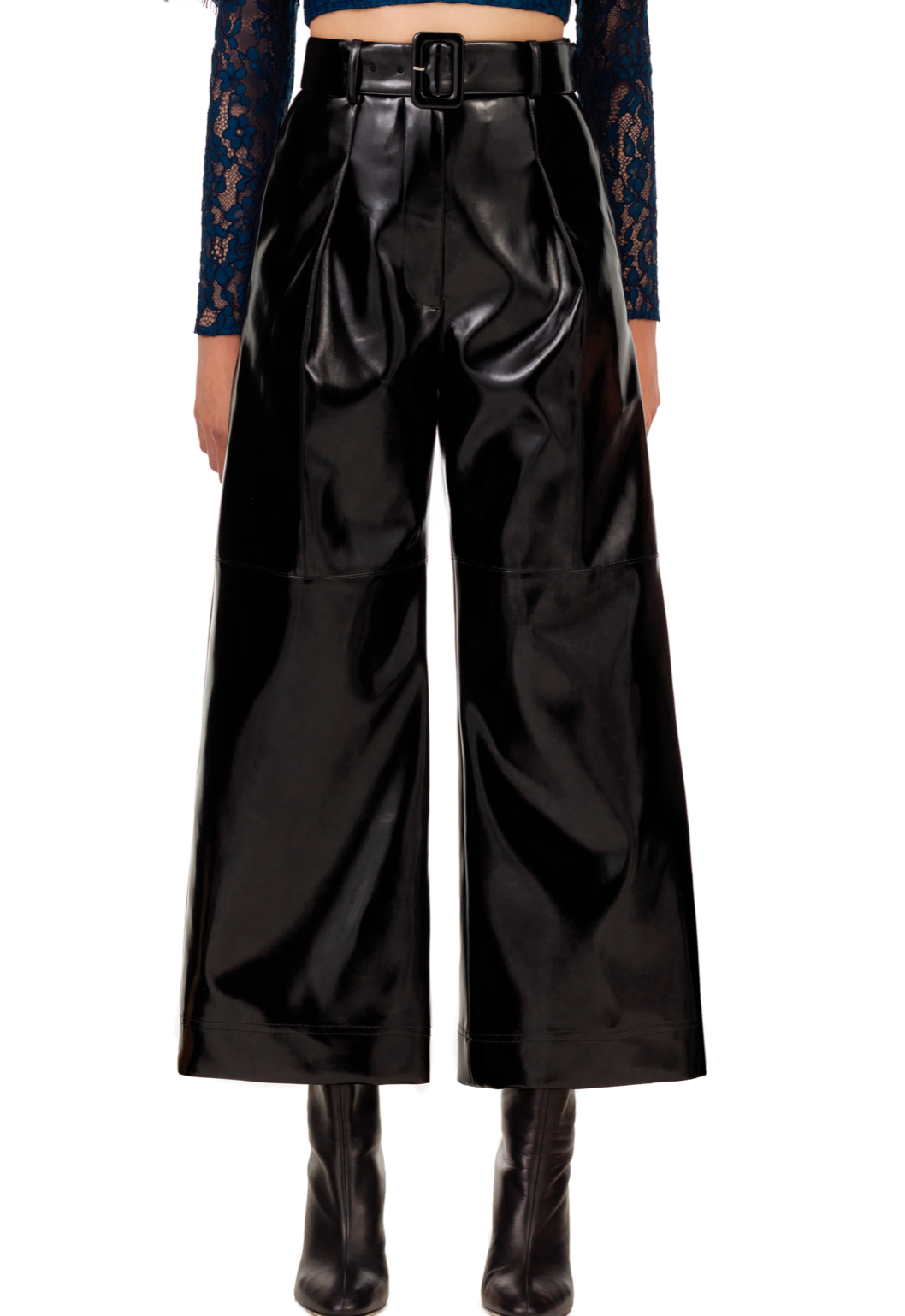 149L BLACK TAILORED FAUX PATENT LEATHER CULOTTES