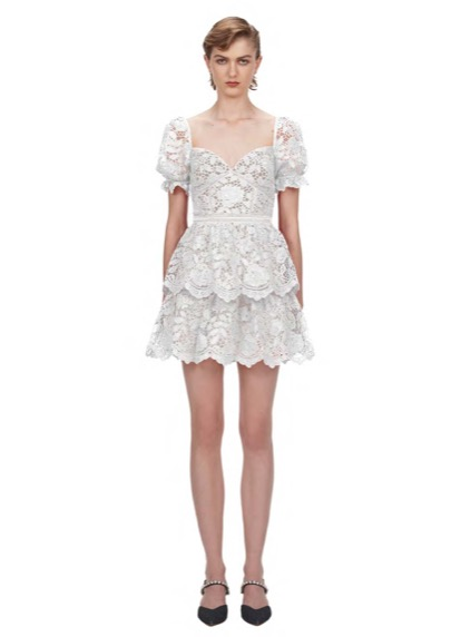113W WHITE FLOWER LACE MINI DRESS