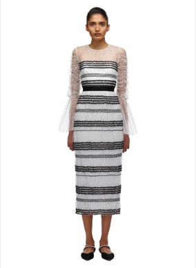 137W CONTRAST WHITE DOT MESH MIDI DRESS