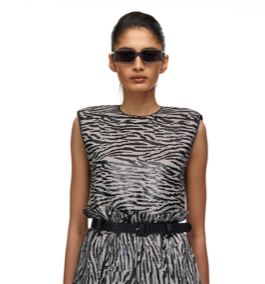 068S ZEBRA SEQUIN SLEEVELESS TOP
