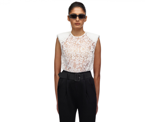 068L CORD LACE SLEEVELESS TOP