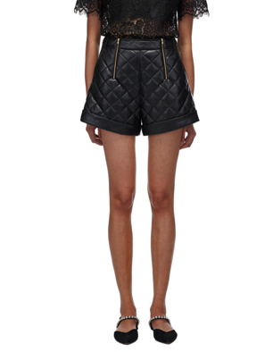 121 BELTED FAUX LEATHER QUILTED SHORTS