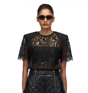 068T BLACK CORD LACE SLEEVED TOP