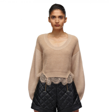 103 CONTRAST NUDE LACE TRIMMED JUMPER