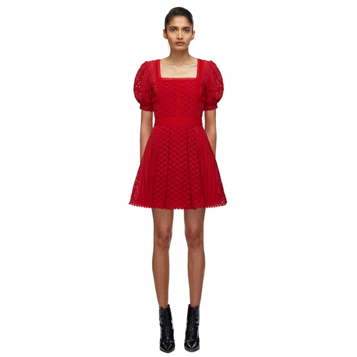 908 RED COTTON BRODERIE MINI DRESS