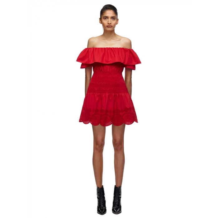 902 RED OFF SHOULDER COTTON POPLIN MINI DRESS