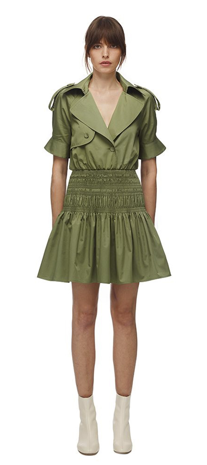 004 KHAKI TRENCH MINI DRESS