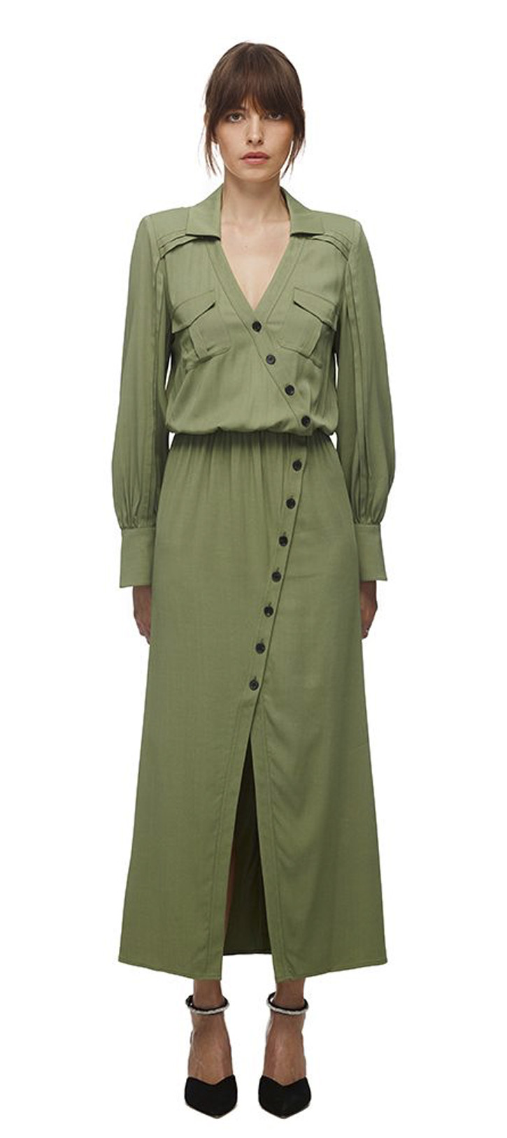 024K KHAKI STRETCH-CREPE SHIRT DRESS