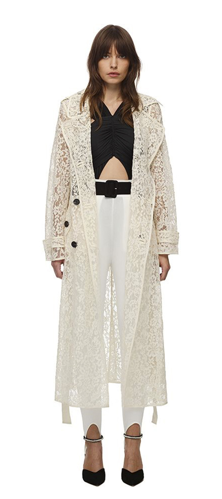 058 CORD LACE TRENCH COAT