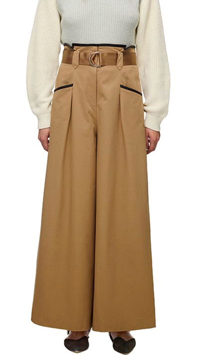 015T CONTRAST TRIM CANVAS PAPER BAG TROUSER