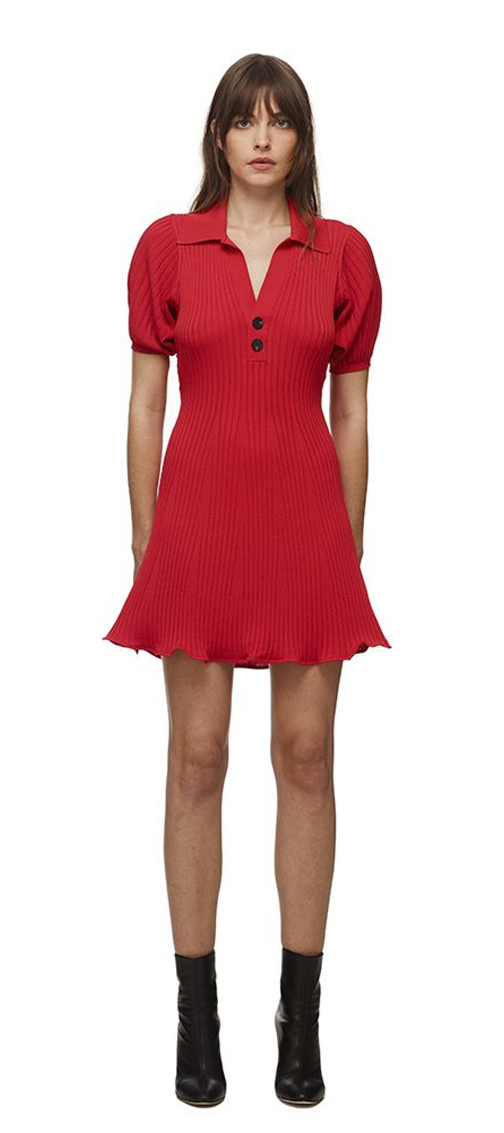 084M RED RIB KNIT MINI DRESS