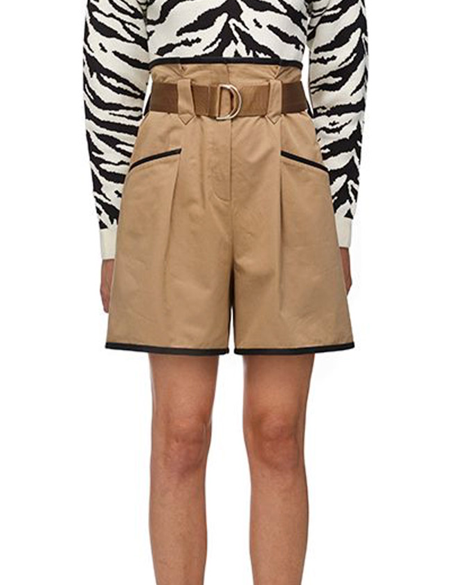015 CONTRAST TRIM CANVAS PAPER BAG SHORTS